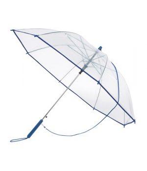 blå transparent paraply
