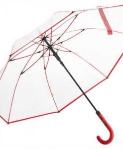 Køb rød transparent paraply